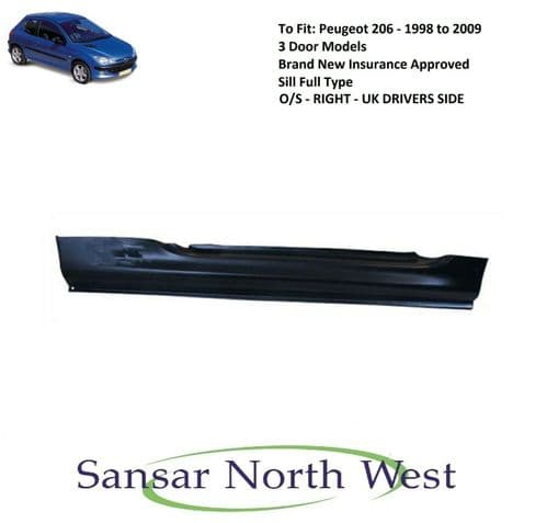 For Peugeot 206 3dr - Drivers Side Sill Full Type O/S RIGHT 1998 to 2003 Models